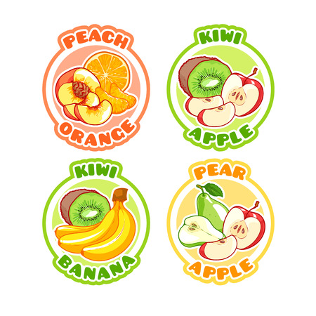 combinations: Four stickers with different combinations of fruits. Peach, orange, kiwi, apple, banana and pear. Vector cartoon illustration isolated on a white background. Illustration