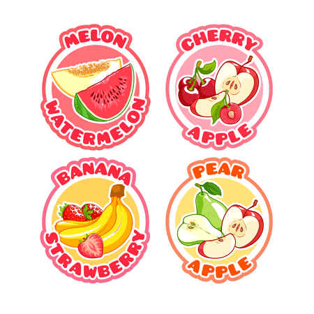 combinations: Four stickers with different combinations of fruits and berries. Melon with watermelon, apple with cherry, banana with strawberry and pear with apple.  Vector illustration on a white background. Illustration