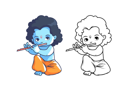 krishna cartoon stock photos & pictures. royalty free krishna ... - Baby Krishna Images Coloring Pages