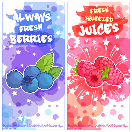 natural juices: Two vertical orientation flyers with berries. Always fresh and natural juices. Vector template flayer isolated on a white background.