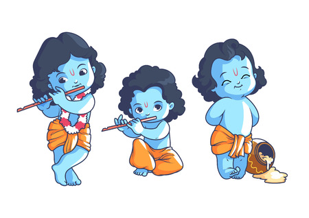Set of little Krishna. Vector cartoon illustration on a white background. Иллюстрация