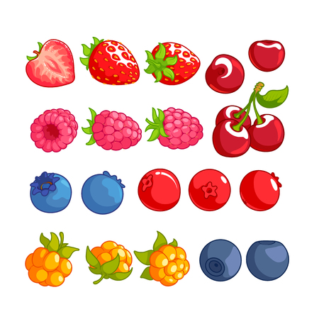 bilberry: Set of different berries. Strawberry, cherry, raspberry, blueberry, cranberry, cloudberry and bilberry isolated on a white background. Illustration