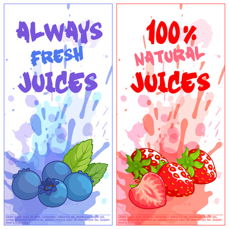 vertical orientation: Two vertical orientation flyers with berries. Always fresh and 100% natural juices. Vector template flayer isolated on a white background.