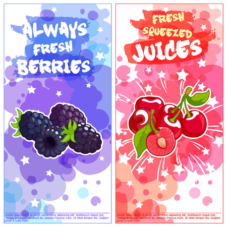 vertical orientation: Two vertical orientation flyers with berries. Always fresh and natural juices. Vector template flayer isolated on a white background.
