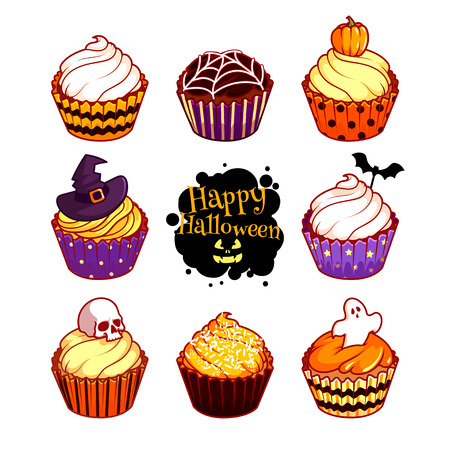 cupcakes isolated: Set of different cupcakes for Halloween. Vector illustration isolated on a white background. Illustration
