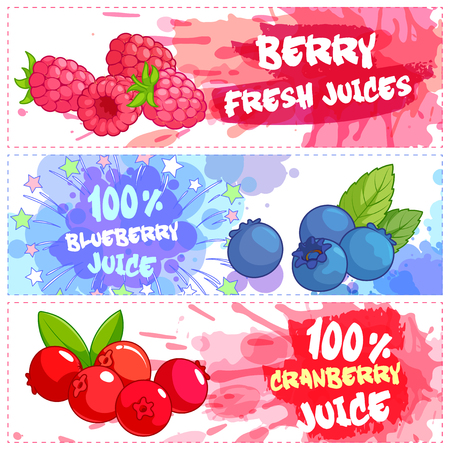 natural juices: Three horizontal banners for berry juices. Fresh natural juice. Vector template flayer isolated on a white background.