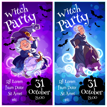 Dos folletos de orientación vertical para el partido de la bruja. invitación de la plantilla de vector en tonos oscuros