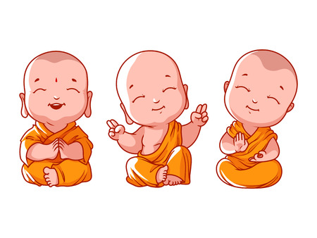 Set of little meditating monks. Vector cartoon illustration on a white background. Stok Fotoğraf - 60587017