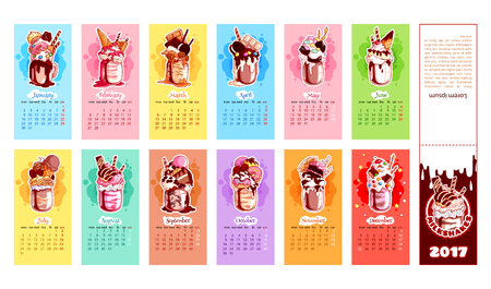Calendar for 2017 year with milkshakes. Week Starts Monday. Delicious cartoon sweets. Vector calendar template for kids. Illustration