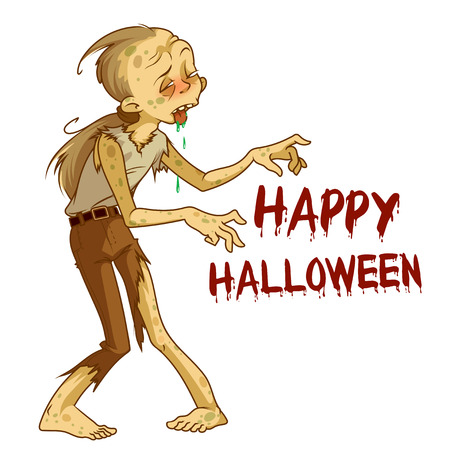 Funny brown zombie. Design element for Halloween card. Vector illustration on a white background.