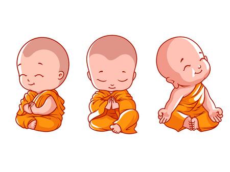 Set van kleine mediterende monniken. Vectorbeeldverhaalillustratie op een witte achtergrond.