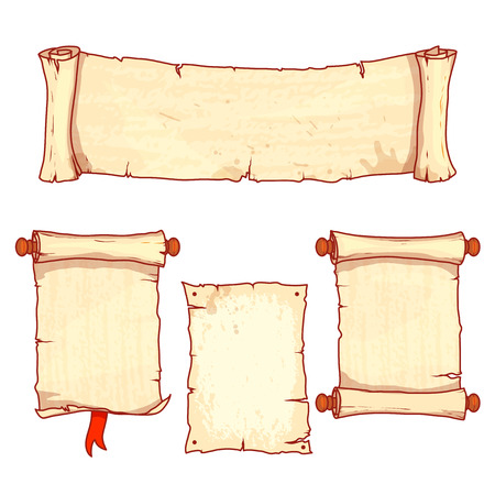 vellum: Set of four ancient scrolls.  Vector illustration isolated on a white background.