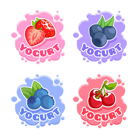 bilberry: Four stickers with for yogurt with different berries. Strawberry, blueberry,  bilberry and cherry.  Vector illustration on a white background.