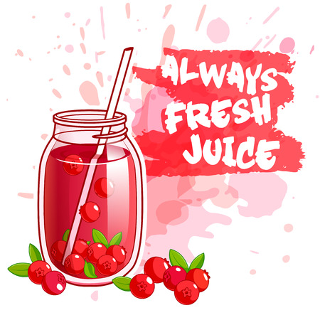 cranberry illustration: Cocktail jar with cranberry juice. illustration on a white background with spots. Illustration