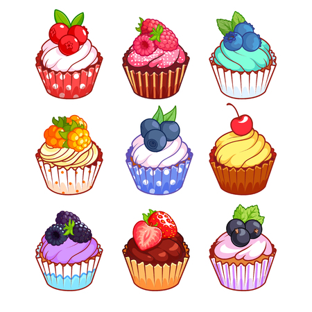 cupcakes isolated: Set of cupcakes with different berries. illustration isolated on a white background. Illustration