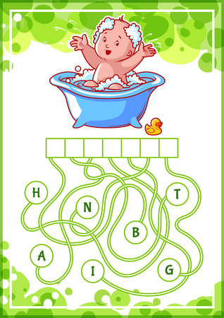 Educational puzzle game with happy baby in the bath. Find the hidden word. Cartoon vector illustration.