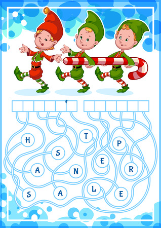 Educational puzzle game with christmas gnomes. Find the hidden word. Cartoon vector illustration. Vectores