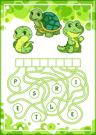 Educational puzzle game with cute green animals. Find the hidden word. Cartoon vector illustration.