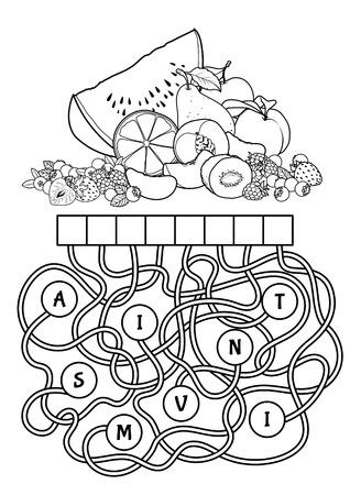 Educational jeu de puzzle avec des fruits. Trouver le mot caché. vecteur Cartoon illustration.