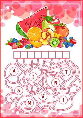 Educational puzzle game with fruits. Find the hidden word. Cartoon vector illustration.