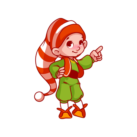 helper: Little Santas helper pointing his finger. Vector cartoon character isolated on a white background.