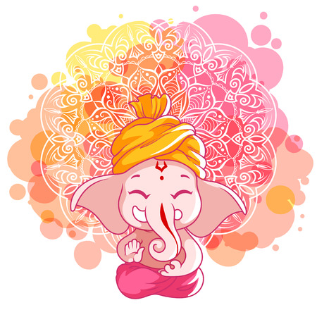 Greeting card for Ganesh birthday: Happy Gahesh Chaturthi. Vector cartoon illustration on a pink spotted background with mandala.