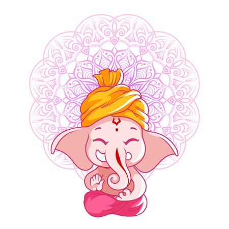 eastern spirituality: Little cartoon Ganesha. Sunny day. Vector cartoon illustration on a white background with mandala.