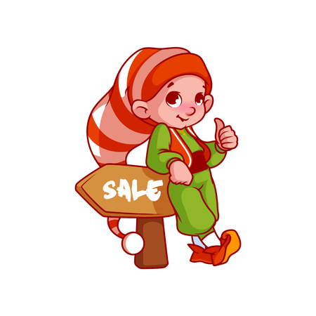 helper: Little Santas helper with a pointer. Vector cartoon character isolated on a white background.