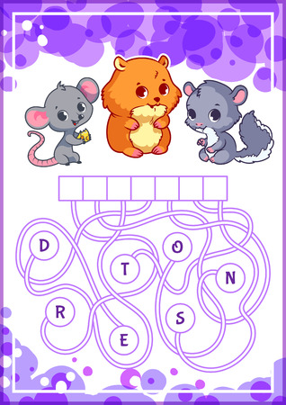 brainteaser: Educational puzzle game with cute animals. Find the hidden word. Cartoon vector illustration.