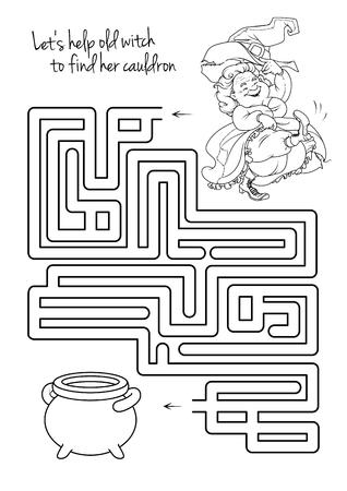 Doolhof spel voor kinderen met heks. Laten we helpen dit oude heks te zijn ketel te vinden. Werkblad voor de klas of thuis met de kinderen.
