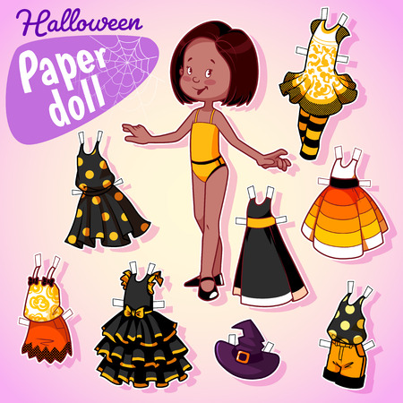 Very cute paper doll with seven beautiful dresses at halloween. Brunette girl. Illustration