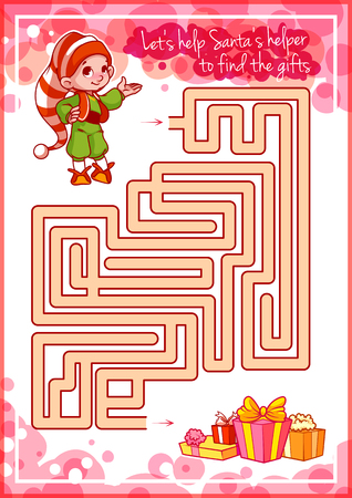 helper: Maze game for kids with cute elf and gifts. Lets help this Santas little helper to find the gifts. Worksheet for class or at home with the kids.