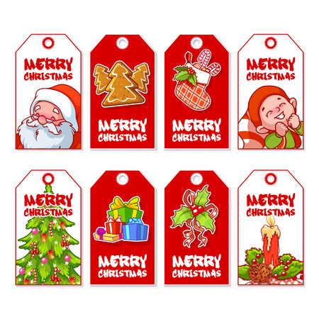 christmas gift: Set of Christmas gift tags with different design. Holiday label ready-to-use. Vector illustration isolated on a white background. Illustration