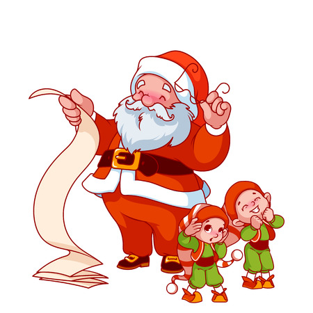 helper: Santa Claus with long scroll and two little helpers. Vector cartoon character isolated on a white background.