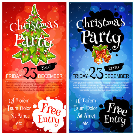 vertical orientation: Two vertical orientation flyers for Christmas party. Vector template invitation in dark tones
