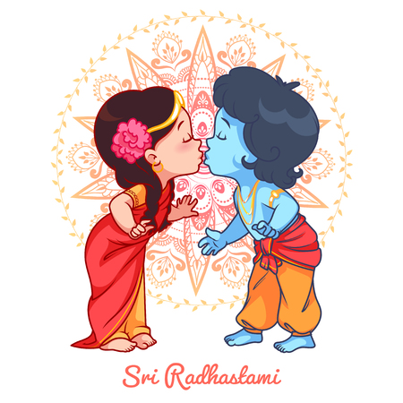 radha: Little cartoon Krishna kissing Radha. Greeting card for Sri Radhastami. Vector cartoon illustration on a yellow spotted background.