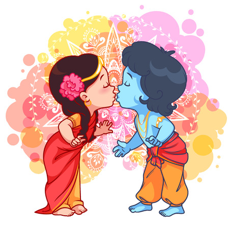 Little cartoon Krishna kissing Radha. Vector cartoon illustration on a yellow spotted background.