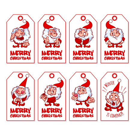 shaggy: Set of Christmas gift tags with cute shaggy gnome. Holiday label ready-to-use. Vector illustration isolated on a white background. Illustration