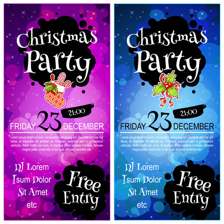 orientation: Two vertical orientation flyers for Christmas party. Vector template invitation in dark tones
