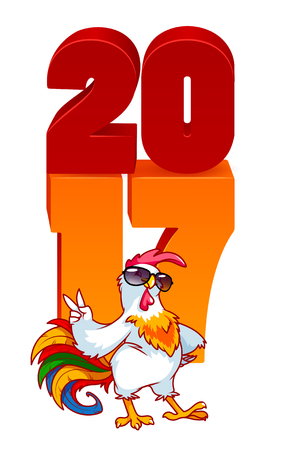 pompous: Vector illustration with rooster, symbol of 2017. Vector elements for New Years design. Cartoon character on a white background with 2017 new year 3d numbers.