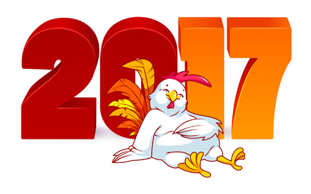 Vector illustration with rooster, symbol of 2017. Vector elements for New Years design. Cartoon character on a white background with 2017 new year 3d numbers.