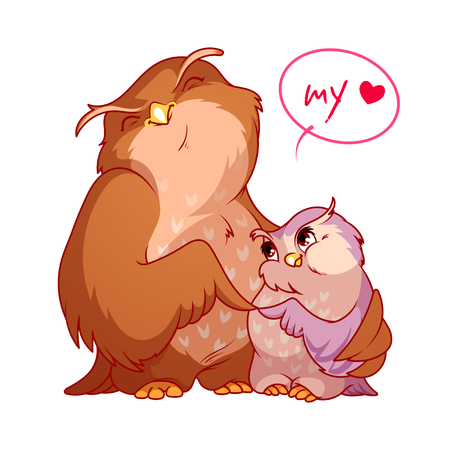 Two cute owls. My love. Vector cartoon characters on a white background.