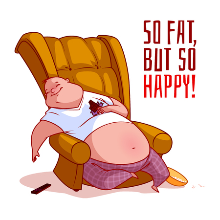 The fat man in a chair. So fat, but so happy! Vector illustration on a white background. Illustration