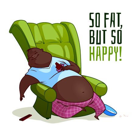 idler: The fat African American man in a chair. So fat, but so happy! Vector illustration on a white background.