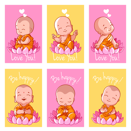 Set of cute cards with Buddha. Vector illustration isolated on a white background. Vettoriali