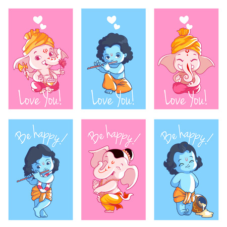 Set of cute cards with Krishna and Ganesha. Vector illustration isolated on a white background.