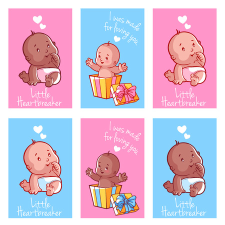 Set of greeting cards for Valentines day. Six cute postcards with babies. Vector illustration isolated on a white background. Illustration
