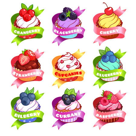 chicouté: Nine stickers with ribbon and different cupcakes. Cranberry, blackberry, cherry, strawberry, cloudberry, blueberry, bilberry, currant, and raspberry flavor. Vector illustration isolated on a white background.
