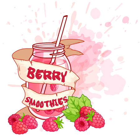Cocktail jar with a raspberry smoothie. Vector illustration on a white background with splashes of juice.