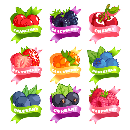Nine stickers with ribbon and different berries. Cranberry, blackberry, cherry, strawberry, cloudberry, blueberry, bilberry, currant, and raspberry. Vector illustration isolated on a white background.